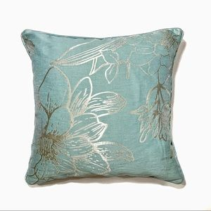 Pier 1 Pillow Peony Print Teal & Gold Down Filled